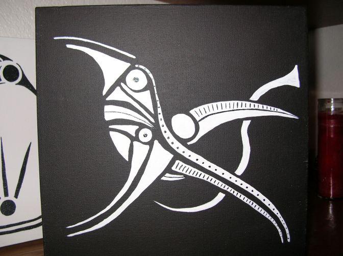 Corvid on canvas, acrylic paint, 12x12