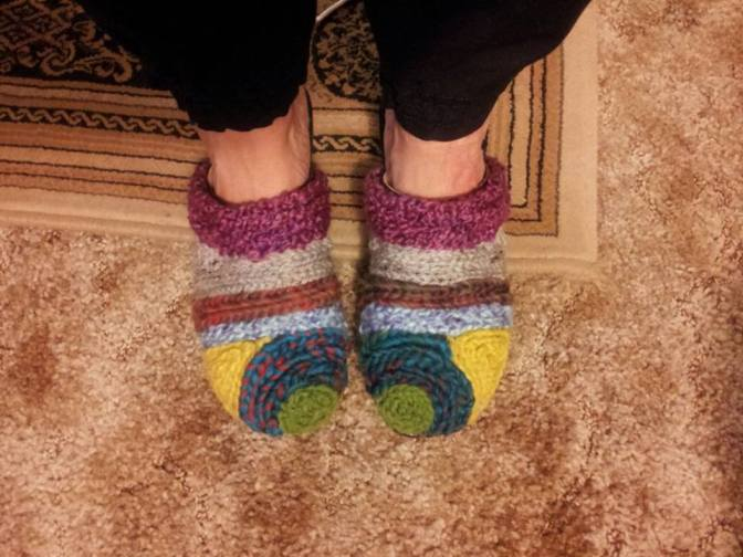 Crocheted covered clogs